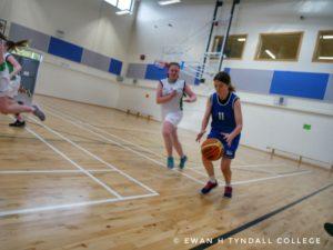 Tyndall College's U-16 Girls' Basketball Team in Action Against Kilkenny Vocational School