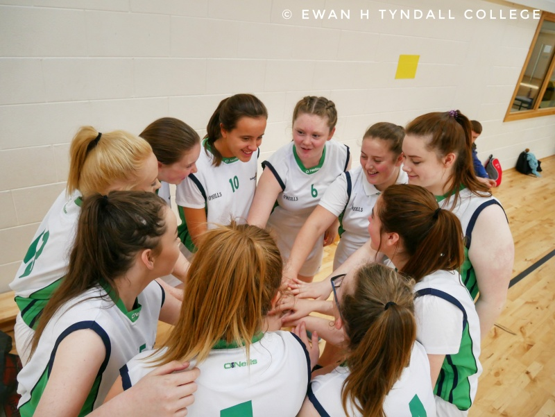 Tyndall College's U-16 Girls' Basketball team before their recent victory against Kilkenny Vocational School